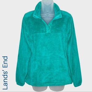 Women's Lands' End teal cozy pullover fleece size medium
